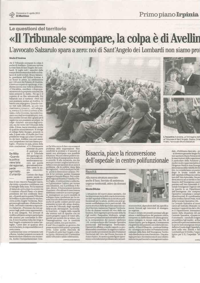 150 anni, Tribunale, Sant Angelo, Il Mattino