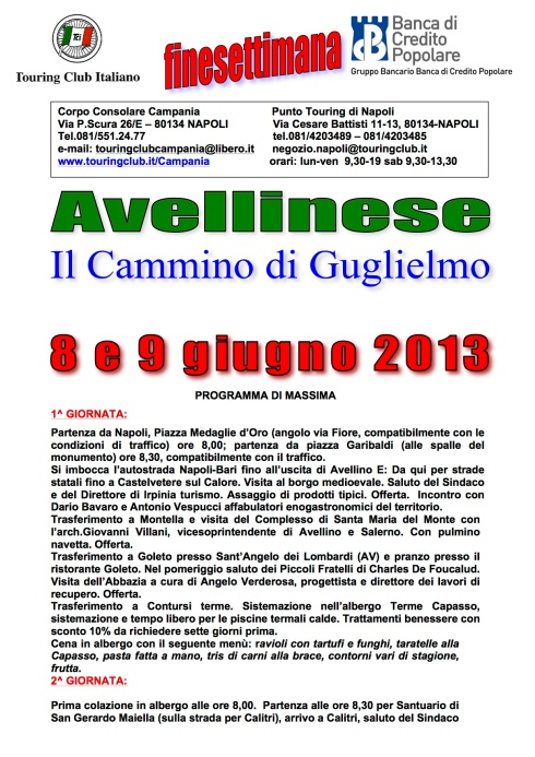 AVELLINESE IL CAMMINO DI GUGLIELMO 8 E 9 GIUGNO 2013