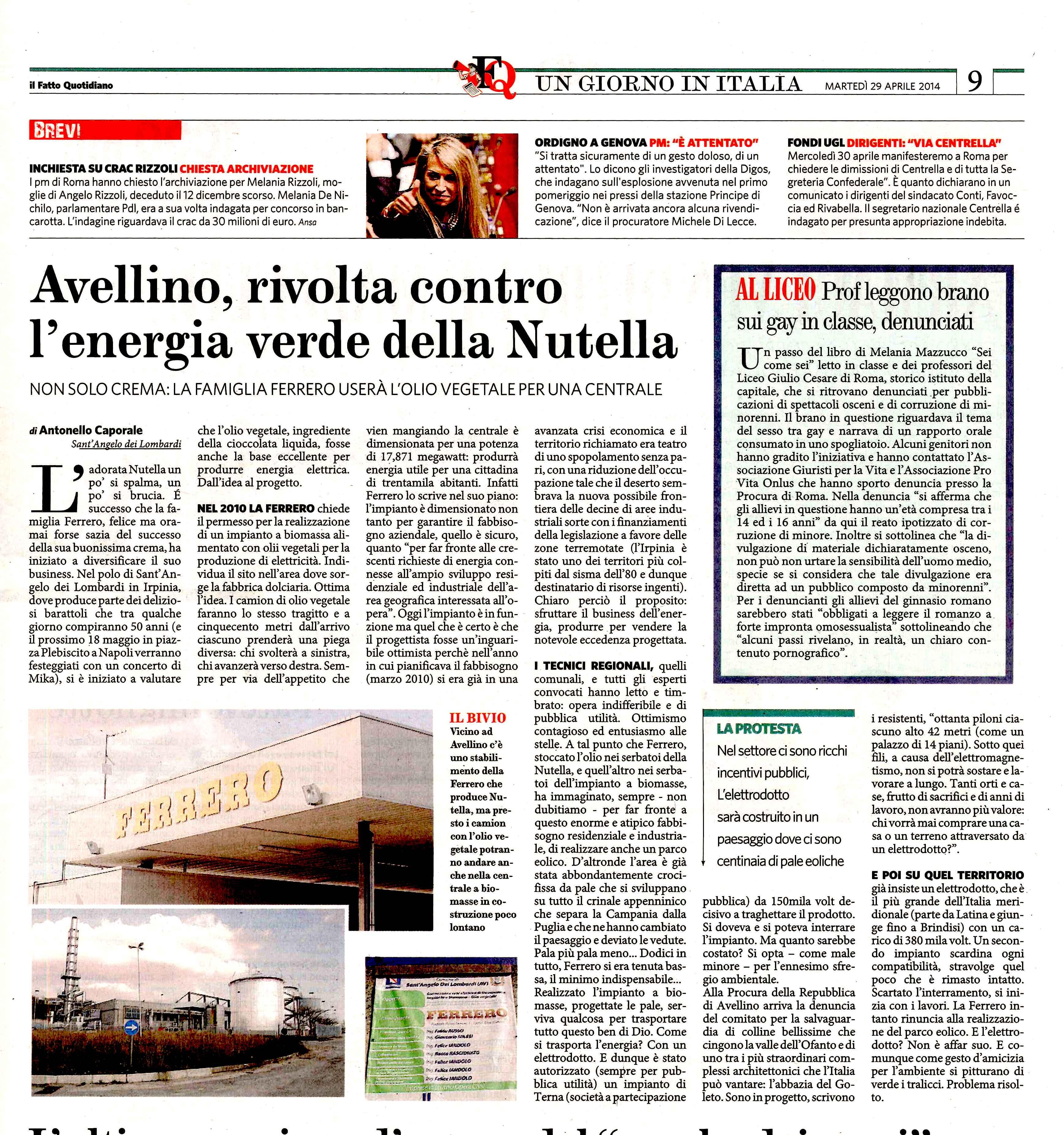 2014 04 29 A Caporale _ Il Fatto _ Ferrero _ elettrodotto